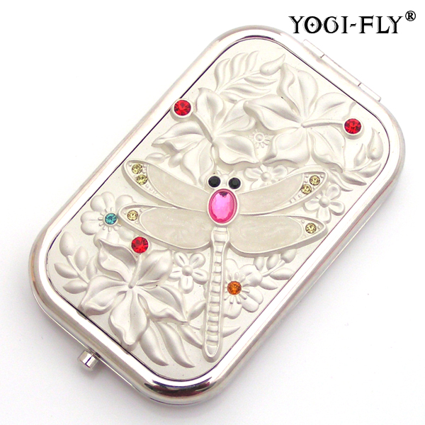 high quality rectangular makeup mirror / dragonfly folding portable pocket makeup mirror women's gift(China (Mainland))