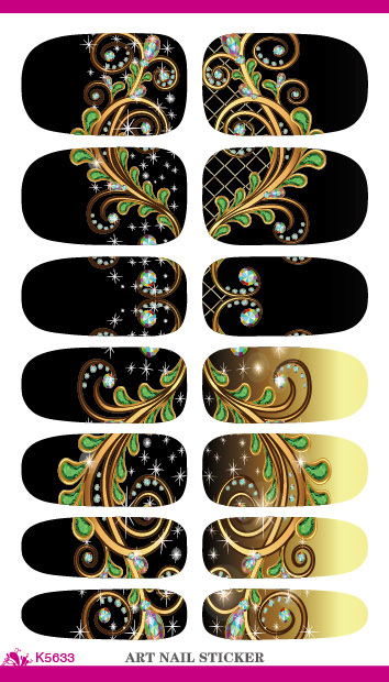 New Arrive Nail Art Decorations Black Dream Peacock Feathers Water Transfer Nail Foil Sticker 3d Manicure Styling Tools Decals(China (Mainland))