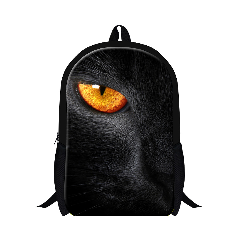 Preppy Style Animal Boys School Bag Cool Black Cat 3D Print Kids School Backpack Multi-function Outdoor Travel Mens Shoulder Bag