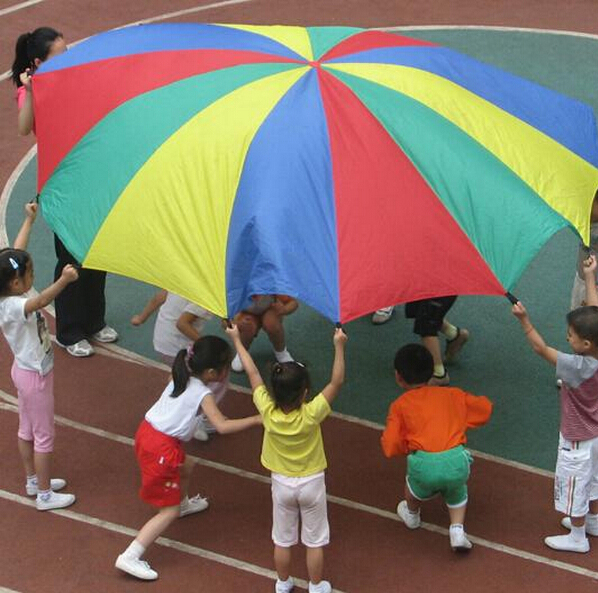Multicolor Nylon New Kids Play Rainbow Parachute Outdoor Game Exerclse Sport 1.8m Suitable For 4-8 individuals Lowest Price(China (Mainland))