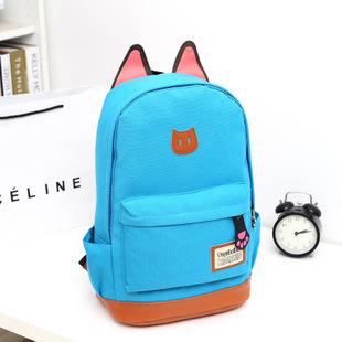 Мода новый горячий кошачьи уши женщины холст рюкзаки школьные сумки для