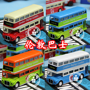 Free shipping Acoustooptical alloy WARRIOR child car model toy 6 classic double layer bus