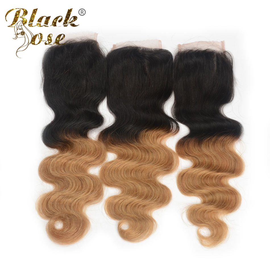 7A Chinese Virgin Hair Ombre Closure Free Middle Part T1B 27 Virgin Chinese Hair Closure 3.5*4 Bleached Knots Lace Closure(China (Mainland))