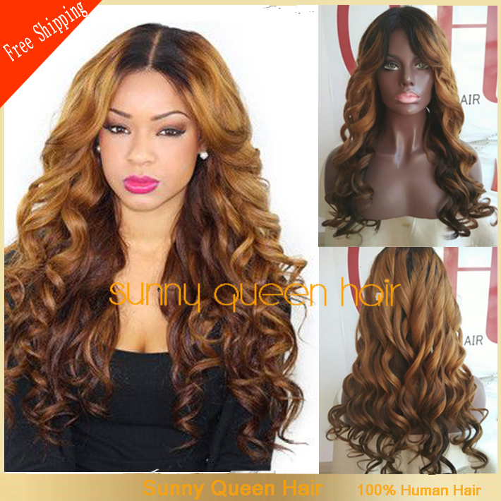 6A Hair Ombre Full Lae Wigs/Glueless Lace Front Wigs Black Women Two Tone Wig Body Wave Baby Shed - QingDao Golden South CO,.LTD store