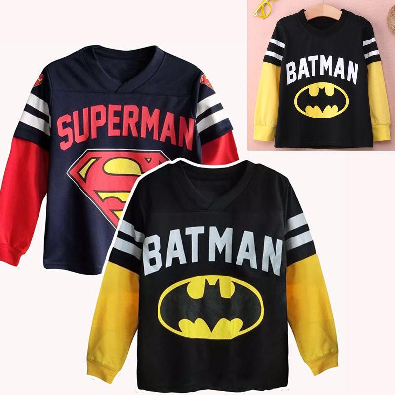 Children T Shirt Batman Cotton Long Sleeve T-Shirts For Boys superman Cartoon Print Boys Tee Kids Tshirt Tops Boys Clothing