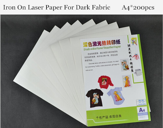 (A4*200pcs) Wholesale Iron on Laser Heat Transfer Paper for Dark and Light fabric T shirt iron-on Transfers Papers TWL-300(China (Mainland))