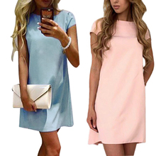 Buy ELSVIOS 2017 Casual A-line Summer Mini Dresses Fashion Women O-neck Solid Color Dress Bodycon Short Sleeve Dress Vestidos for $7.36 in AliExpress store