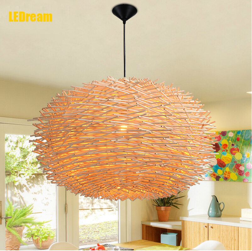 LEDream man-made Lamp Creative Wood pendant Lights 220v E27 Nest Bird Cage Lamp With Incandescent Bulbs For Light Home(China (Mainland))