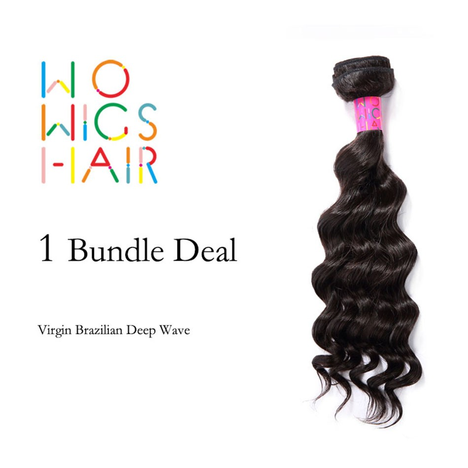 Premium WoWigs Hair Brazilian Virgin Hair Deep Wave 1 Bundle Deal Natural Color 1B