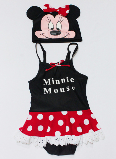 2012 summer kids girl's cartoon MINNIE polka dot one piece swimwear swimmingf hat+suit 2 pc sets swimsuit