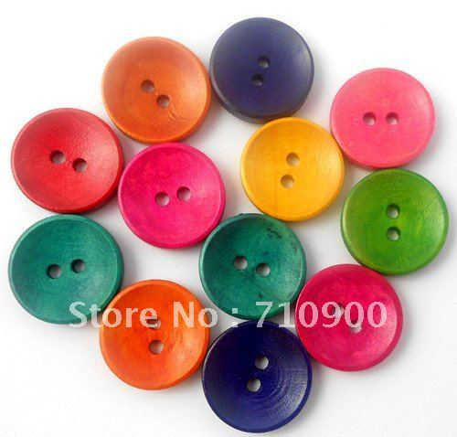 Promotions! New Wholesale 100pcs Concave Surface Mixed Colorful Round 2 Holes Wooden Sewing Buttons Scrapbookings/Appliques 20mm