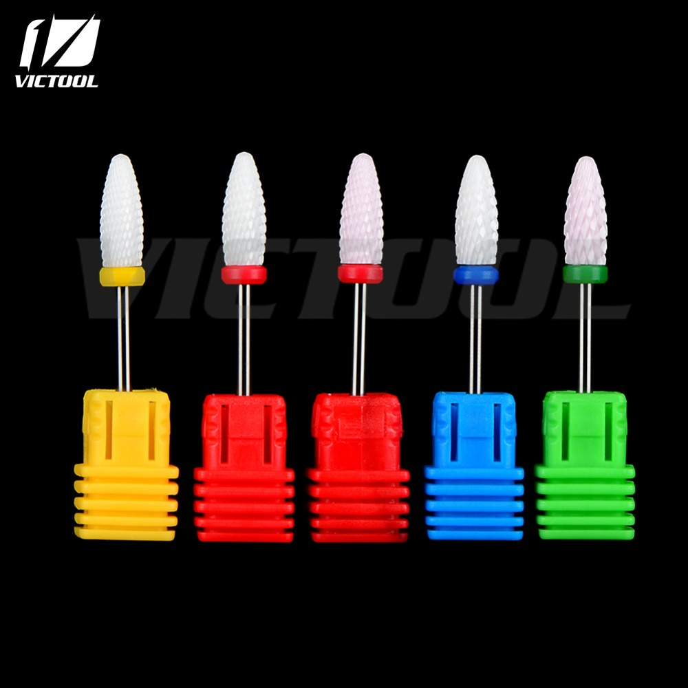 1 piece Victool High Quality Ceramic Nail Drill Bit Rotary Burr For Electric Manicure Machines Pedicure Files Nail Salon Tools(China (Mainland))