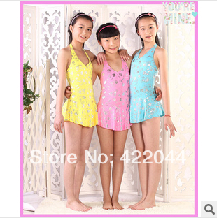 Super big girls swimsuit,silver plating POLYESTER FABRIC swimsuit,Recommended 14-16Y - beibei Store store