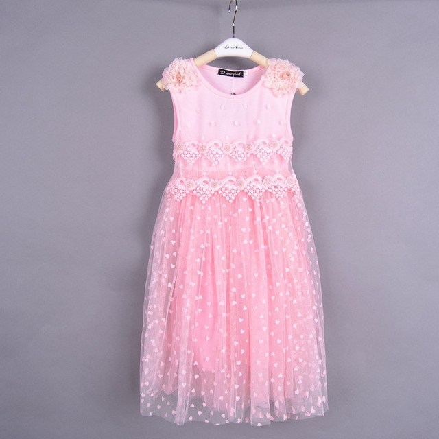 Retail 2016 girls princess dress girl dress children dress pink Color and white kids lace dress  Age for 2~8 years