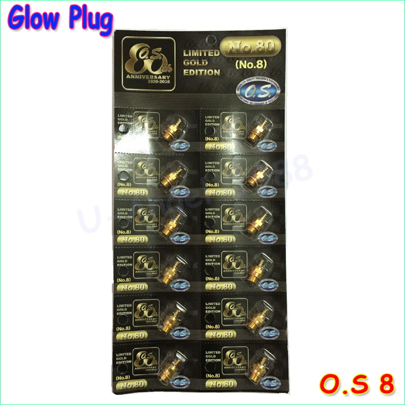 Newst Gold-plated version 100% Original OS NO.8 O.S. OS8 medium plug N Glow Plugs 12 peieces /lot Free Shipping For OS Engine(China (Mainland))
