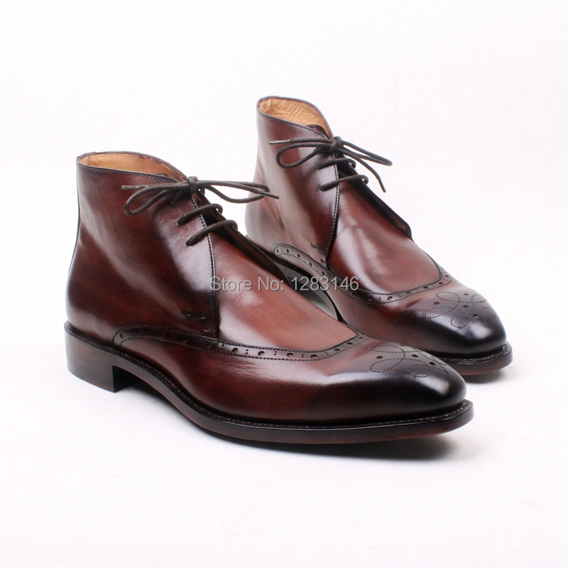 Free Shipping Handmade Lacing Leather Outsole/Upper/Insole Color Brown Hand Coloring Goodyear Welted Craft Mens Boot No.a128<br><br>Aliexpress