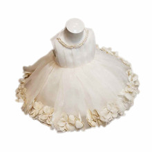 HELLOBABY Sweet petal dress for Newborn 15T girls ,First Birthday Party outfit, Ivory christening baptism with pearl collar 1238(China (Mainland))