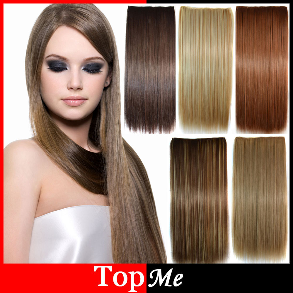 """Гаджет  2015 Women Hair Extensions 24""""(60cm) Long Clip In Long Straight Synthetic Hair One Piece For Lady Hair Extension Free Shipping None Волосы и аксессуары"""