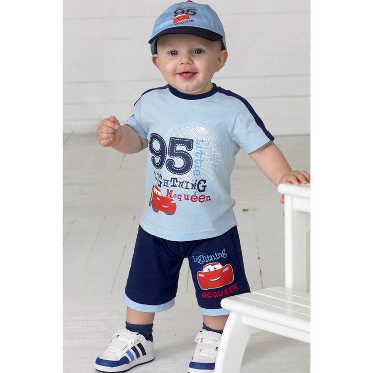 2014 new summer kids boys two piece suit lovely car T-shirt + short pants 2 sets Outfits & Sets TZ-016