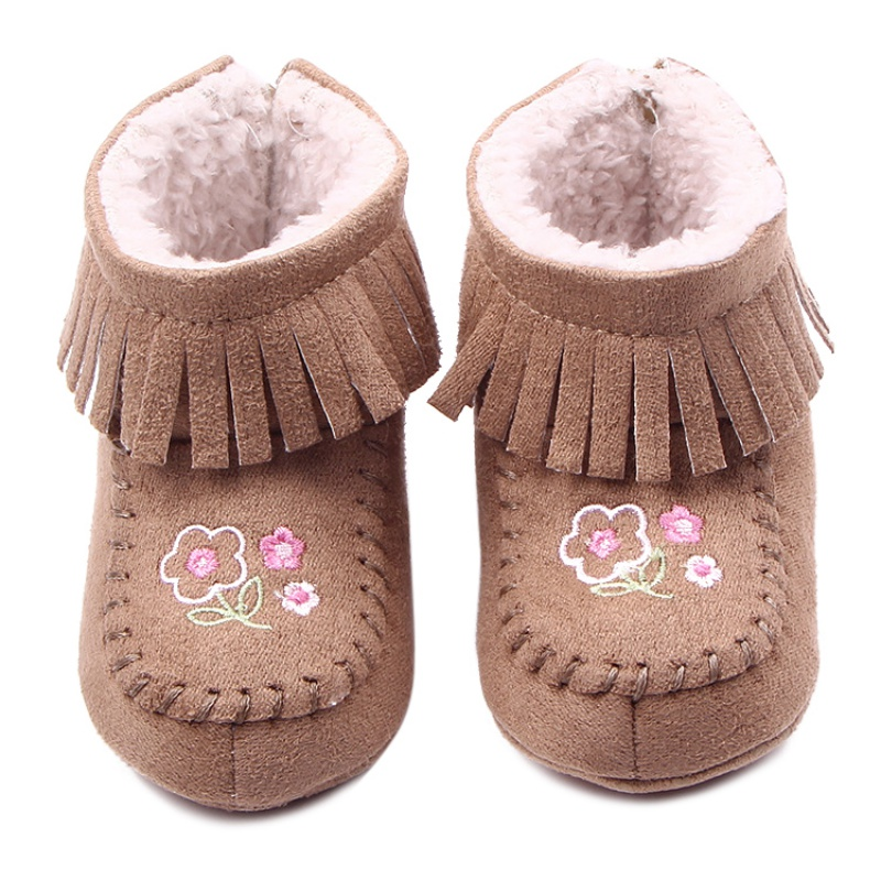 Hot Sale Baby Girl Snow Boots Toddler Infants Tassel Winter Fleece Shoes Zipper Prewalker