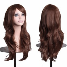 Women's Fashion Wig With Bangs Long Curly Hair Brown Curly Hair Wigs Long Wave Lady's Synthetic Hair Wig Full Lace Cosplay Wig(China (Mainland))
