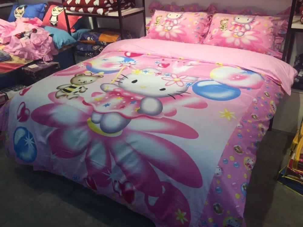 Organic Cotton Designer Bedding Set Anime Bed Sheets Hello Kity Kawaii Bedding Cartoon Kids Bedding Queen Size Conforter Set(China (Mainland))