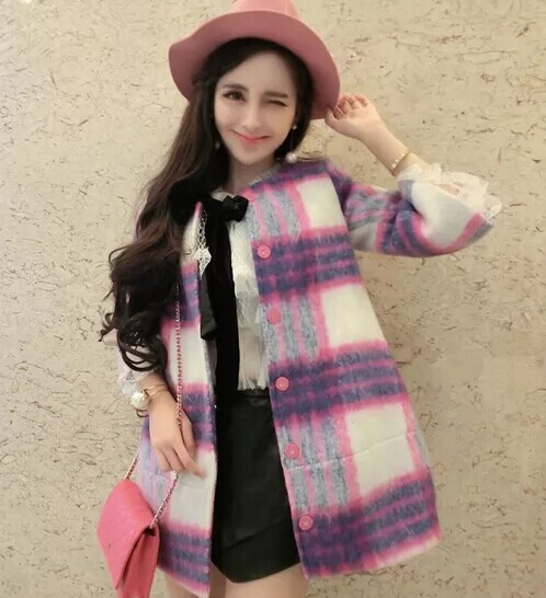 2014 Ladies Straight Tweed Wool Coat Long Sections Woolen Outerwear Casual Women Jacket Fall Winter Plaid Trench