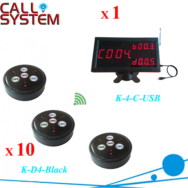 Wireless waiter paging system 1pc K-4-C-USB PC display receiver with 10 table bell 433.92mhz(China (Mainland))