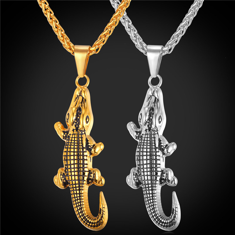 Crocodile Alligator Animal Charms Necklace Pendant Gift Trendy Jewelry Cool Stainless Steel/18K Gold Plated Chain For Men GP1878(China (Mainland))