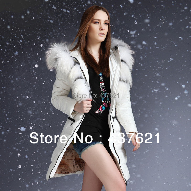 Raccoon Fur Collar 2014 women's winter fashion jacket plus size slim long coat white khaki black female brand coats - Happy Time Store 437621 store