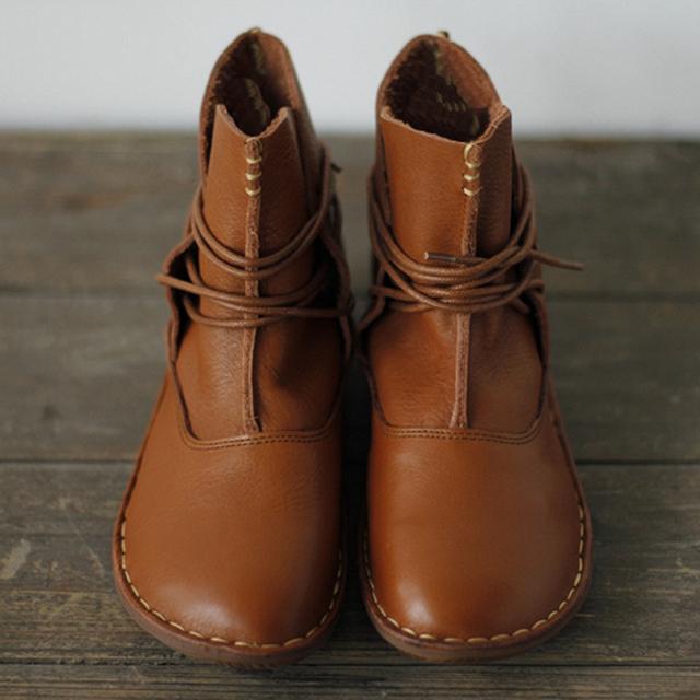 ( 35 - 41 ) женщин обувь из натуральной кожи коричневый / черный плоским ботильоны ...