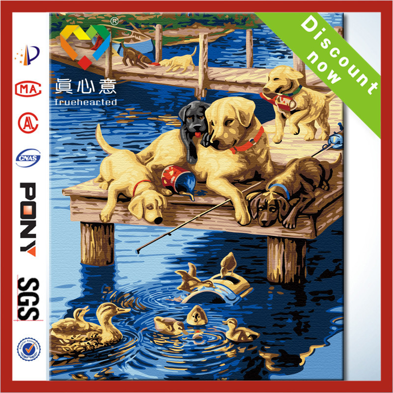 2014 newest product diy painting by numbers kit handmade oil painting canvas 100%cotton wooden frame(China (Mainland))