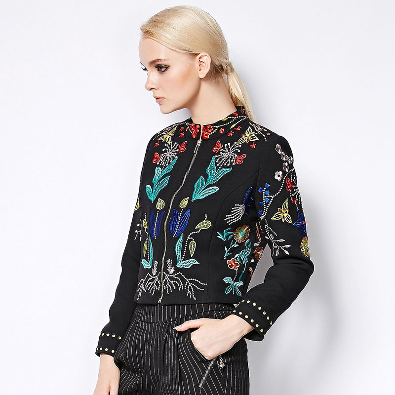 Pro-sale Jacket Autumn Winter 2015 Fashion Runway Brand Womens Elegant Long Sleeve Plus Size Flowers Embroidery JacketОдежда и ак�е��уары<br><br><br>Aliexpress