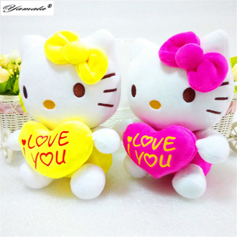 Yamala New arrival Sanrio Hello Kitty Toys Super Soft Stuffed Kitty Holding Love Heart 20cm mini size Cat doll Anime toys(China (Mainland))