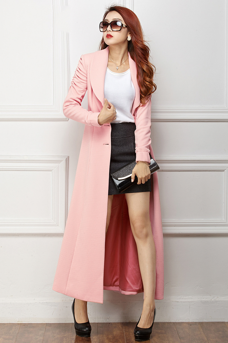 Pink Long Coat - Coat Nj
