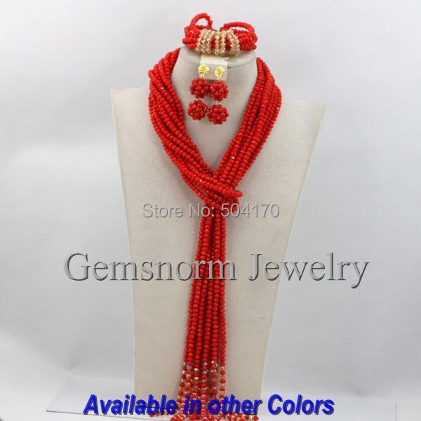 Latest Fashion Bright Red African Wedding Beads Jewelry Set Popular Strands Indian Bridal Jewelry Set Free shipping GS289(China (Mainland))