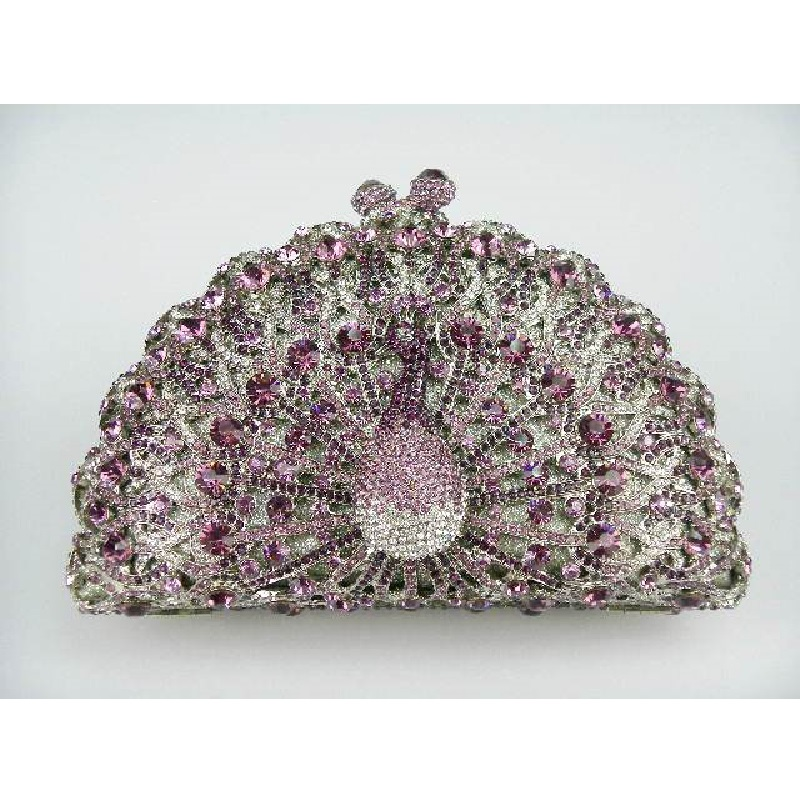 Фотография 8105 Purple Crystal Peacock Animal Bird Wedding Bridal Party Night hollow Metal Evening purse clutch bag case box handbag