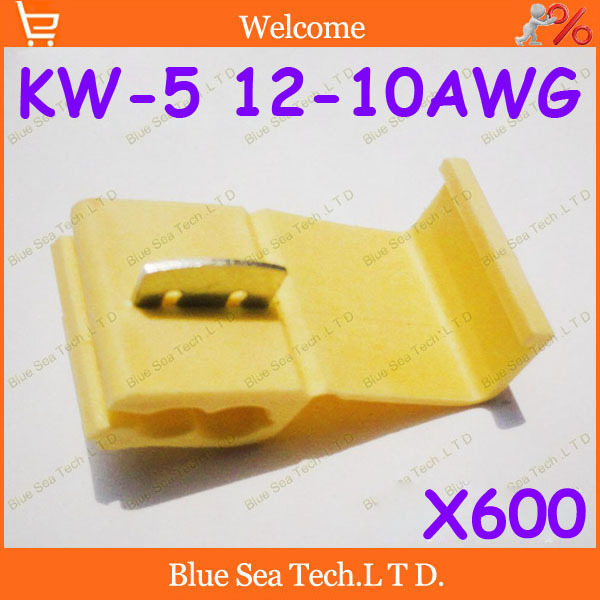 Free Shipping 600pcs Yellow KW-5 Scotch Lock Quick Splice Wire Connector KW5 and Splices For 4.0-6.0mm2,12-10 AWG Wire 24A ROHS<br>