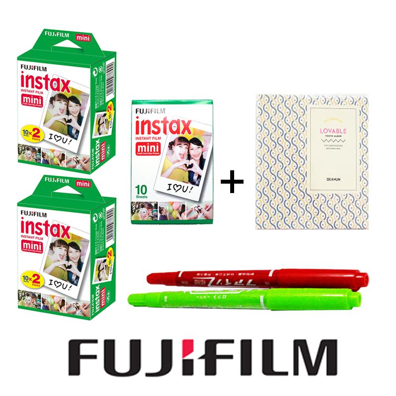 50 sheet White Fujifilm Instax Mini 8 film + Free Gift one Album & 2 Drawing Pens for Fujifilm Instant Mini 7s 25 50s 90 Camera(Hong Kong)