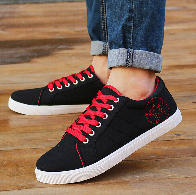 hot sale 2015 fashion Men Lace Up Canvas shoes Classical Solid color Flats Board shoes Casual shoes Sneakers Free Shipping 40-44(China (Mainland))