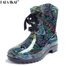 Brand Designer Women Rain Boots Waterproof Warter Boots for Woman Rain Shoes Lace Up Leather Boots Women Shoes XWN0039-5(China (Mainland))