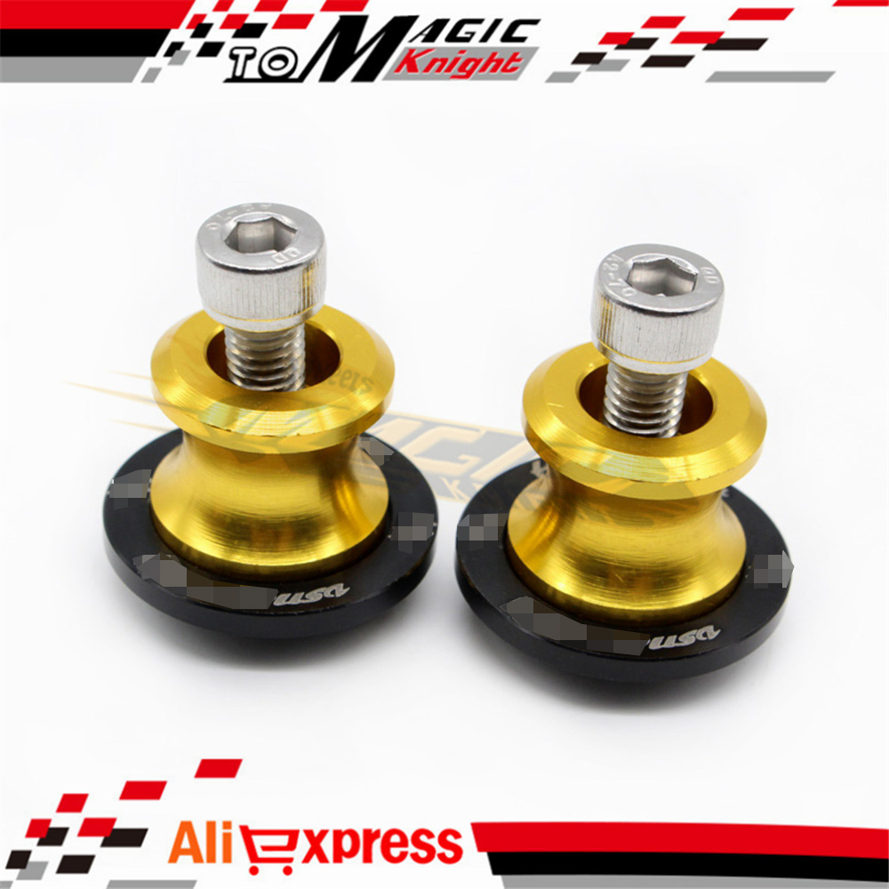 For SUZUKI HAYABUSA GSX1300R 1999-2015 Swingarm Spools slider 8mm stand screws Golden free shipping(China (Mainland))
