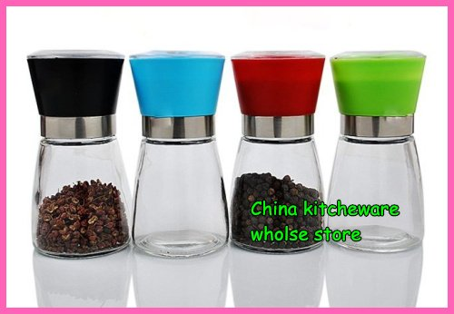 pepper grinder, salt&pepper mill, operated by hand, glass bottle, ceramic core, acrylic cat, hot sale,20pcs/lot, freeshipping