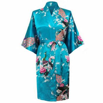 Горячая распродажа голубой женщины кимоно ванна платье невесты сексуальные шелковые ...