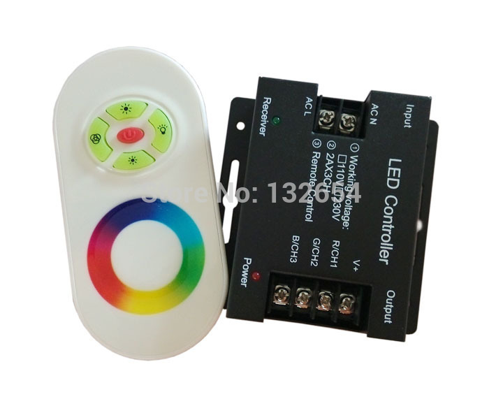 AC110V-220V 3 circuits 6A 600W Touch Remote wireless High voltage RGB LED Controller LED Strip Light Rope Light Controller(China (Mainland))