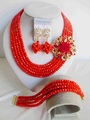 2014 Sale Real African Beads Jewelry Set Fashion Jewelry Vertical Wedding Crystal Necklace Nigeria Africa Bride Suits Ab046