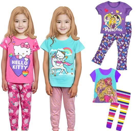 2-7Y baby girls suit kids children 2 pc set short sleeve t-shirt + pants Kitty princess pajamas 0613 sylvia(China (Mainland))
