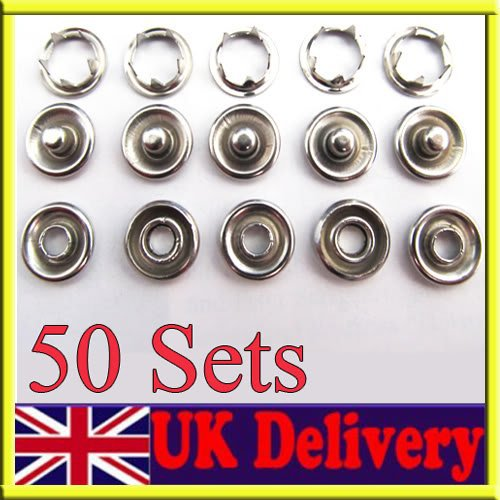 50 Sets 9.5mm prong PRESS STUDS Open Ring No Sew Snaps buttons Fasteners(China (Mainland))