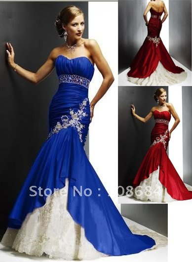 Wholesale blue sexy mermaid style wedding dresses bridal for Blue wedding dresses plus size