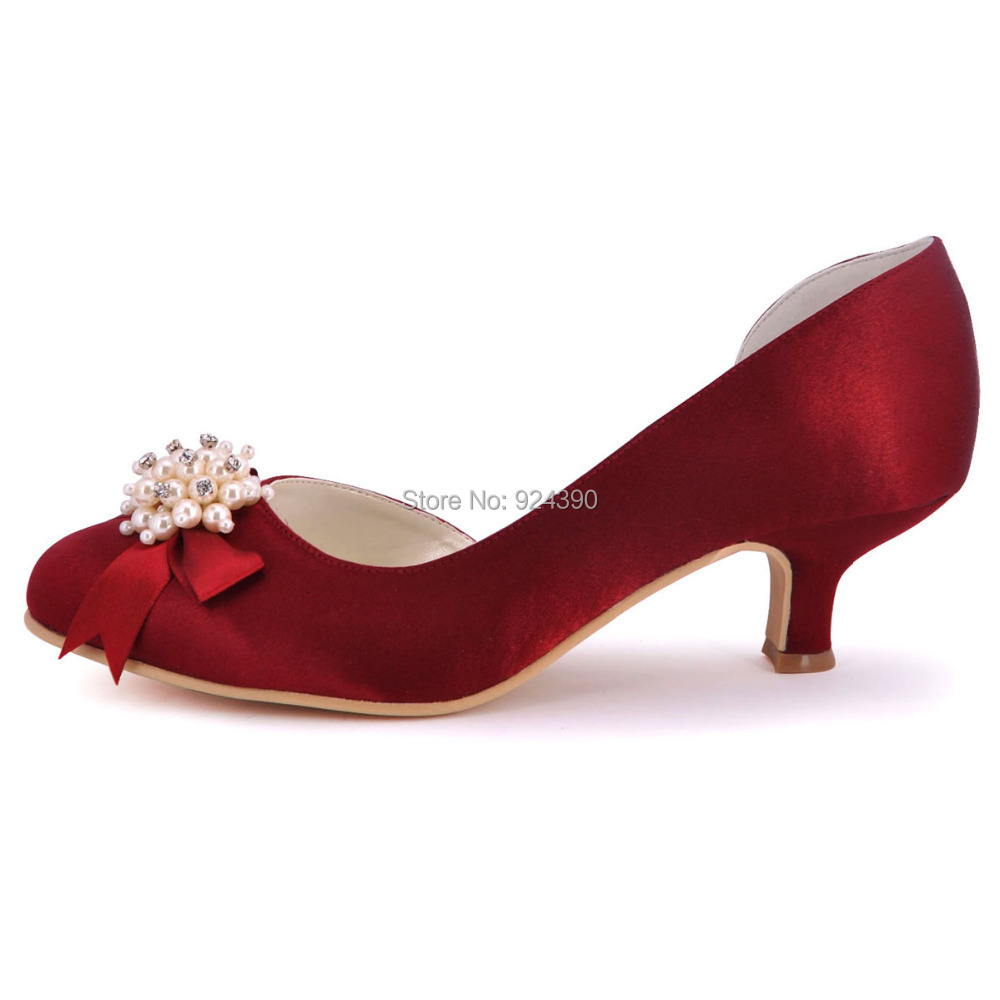 Burgundy Kitten Heel Shoes - Is Heel